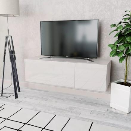 vidaXL TV-möbel spånskiva 120x40x34 cm vit högglans