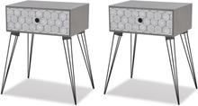 vidaXL Sängbord med låda 2 st grå