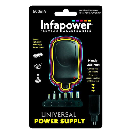 Infapower P001 hendig 600mA 7-veis AC/DC Universal USB adapter strø...