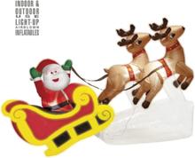 Oppblåsbar Julenisse på Slede og Reinsdyr med LED Lys 210 cm
