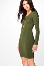 Jessica Long Sleeve Lace Up Bodycon Dress