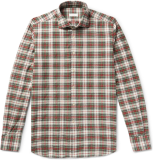 Ween Slim-fit Cutaway-collar Checked Cotton-flannel Shirt - Green