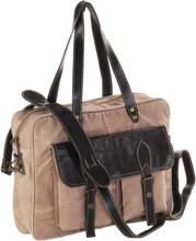 vidaXL Handväska brun 40x53 cm kanvastyg och äkta läder