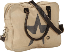 vidaXL håndtaske 40 x 54 cm kanvas og ægte læder beige