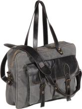 vidaXL Handväska grå 40x53 cm kanvas och äkta läder