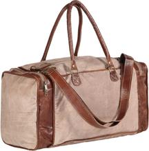 vidaXL Weekendväska brun 54x23x52 cm kanvas och äkta läder
