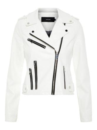 VERO MODA Faux Leather Jacket Women White