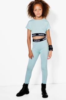 Girls Boohoo Elastic Sports Top & Legging Set