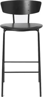 Ferm Living - Herman Bar Chair Low, Black/Leather