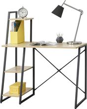 [en.casa]® Skrivbord Aalborg med hyllor-117x102x50cm-stål-melaminbelagd spånskiva-justerbar höjd-svart-ek optik