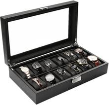 Antgamer Watchbox / Klockbox 12 klockor Carbon Lyxmodell i svart CW012