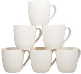 6 stk Hvide Kaffekrus - Keramik - Pakket i gaveæske