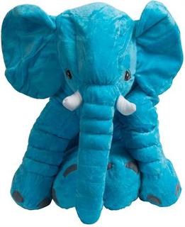 Elefant tøjdyr - lyseblå - 60 cm i højden - Slaske elefant bamse