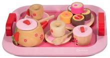 Tesett i tre - Inneholder 17 deler med småkaker, kopper og brett