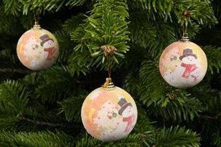 juletræspynt - 6 stk søde julekugler med snemænd
