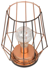 Bordlampe i kobber - Diamantformet - Med LED lys