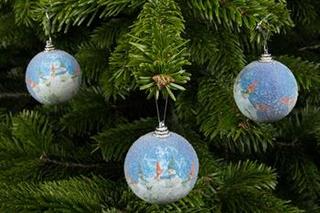 juletræspynt - 6 stk søde julekugler blå med snemænd