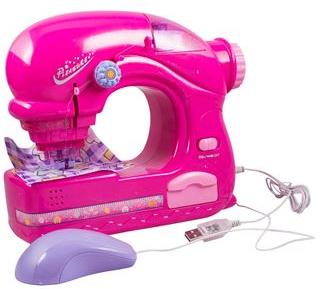 Legetøjs symaskine - lyserød - med usb stik