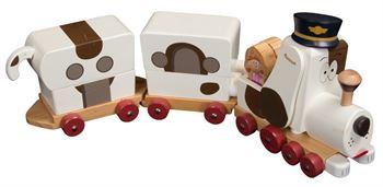 Trætog med 2 vogne - Tickety Toc - Forestiller en hund - Længde 45 cm - Home-tex