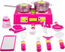 Matlagingssett - Med komfyr og kjøkkenredskaper -13 deler