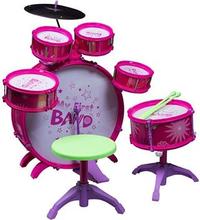 Trommesæt - lyserødt - Med 6 trommer og Hi-hat