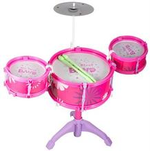 Trommesæt - Lyserødt - Med 3 Trommer og Hi - hat