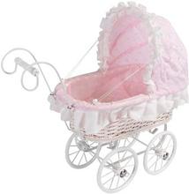 Dukkevogn i kurveflet - lille romantisk dukkevogn