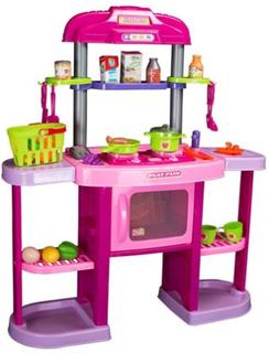 Stort Legetøjs køkken - lyserødt - 33 dele