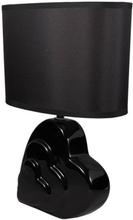 Sort hjerte lampe med skærm - Højde 33 cm