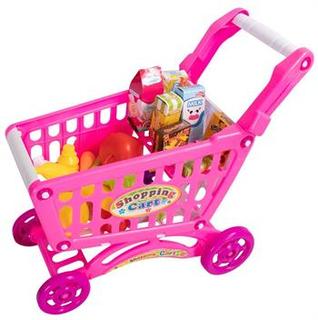 Legetøjs indkøbsvogn - Med 69 dele mange forskellige varer -