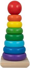 Stabeltårn i træ - Mange flotte farver - 21cm høj - 9 dele
