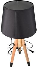 Trendy bordlampe med sort skærm og lyse træben