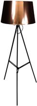 Stor standerlampe med kobber skærm - På metal ben - Højde 143 cm.