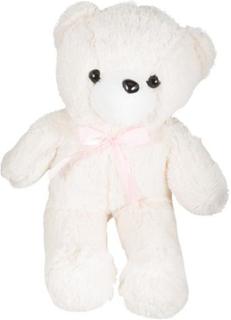 Sød bamse - 55 cm høj - Hvid med sløjfe