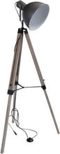 Projektør gulvlampe på 3 egetræs ben. 112-156 cm
