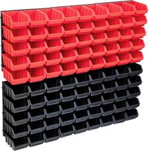 vidaXL opbevaringssæt med vægpaneler 96 dele rød og sort