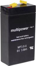multipower MP3,8-6 A96325 Blybatteri 6 V 3.8 Ah Bly AGM (B x H x D) 66 x 126 x 33 mm Stickkontakt 4.8 mm Underhållsfri, Låg självurladdning