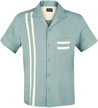 Chet Rock - Lucky Stripe Bowling Shirt -Kortermet skjorte - petrol, hvit