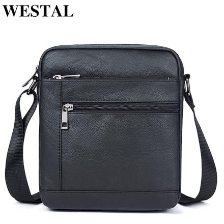 WESTAL Men's Genuine Leather Bag Men Shoulder Crossbody Bags for Man Messenger Bag Men Leather Small Bags Male Handbags 7604