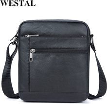 WESTAL Men's Shoulder Bags Men's Bag Genuine Leather Black Crossbody Bags for Men Small Flap Male Messenger Bag Men Leather 7604
