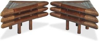 vidaXL Sängbord 2 st 60x60x40 cm bambu mörkbrun