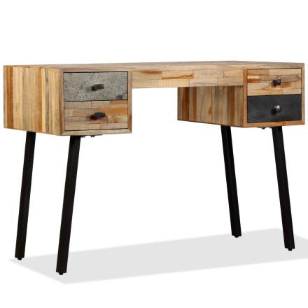 vidaXL Kirjoituspöytä Kiinteä kierrätetty Tiikki 110x50x76 cm
