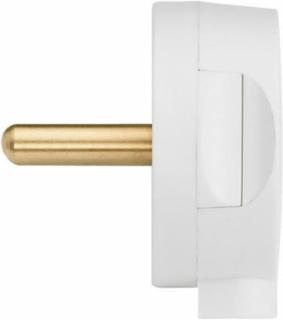 Designerstik Form Stikprop 250V 13A Uden Jod Flad Hvid 1 stk