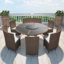 vidaXL udendørs spisebordssæt 7 dele med hynder polyrattan brun