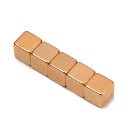 Kobber-belagt neodym kube magnet 7 mm | Styrke 1,6 kg