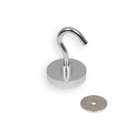 Pot magnet Ø 40 mm med krok, løfter 80 kg | Nettbutikk SuperMagneter.no