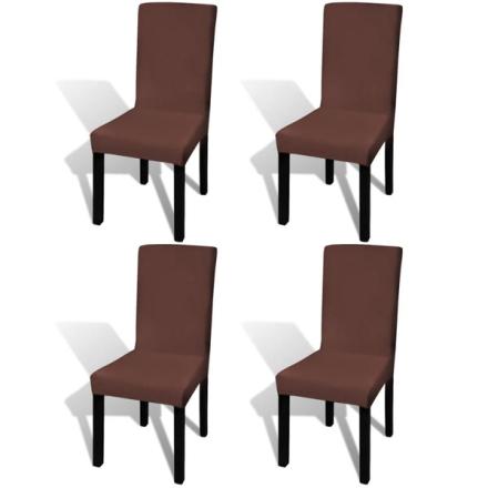 Vidaxl rakt elastiskt stolsöverdrag 4 st brun