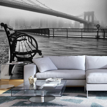 Fototapet - A Foggy Day on the Brooklyn Bridge