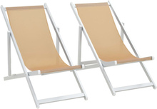 vidaXL Hopfällbara strandstolar 2 st aluminium och textilen gräddvit