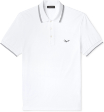 Contrast-tipped Logo-embroidered Cotton-terry Polo Shirt - White